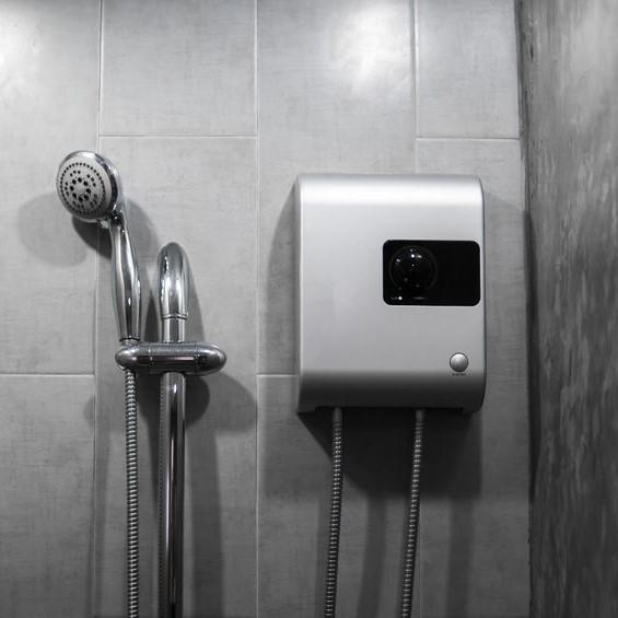 tankless water heater by shower head