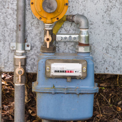 A Gas Meter Outside of a Home.